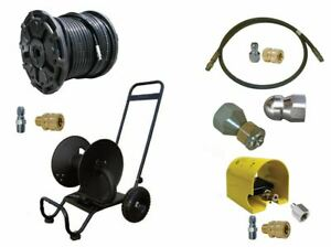 Sewer Jetter Cleaner Kit Foot Valve 200 X 3 8 Hose Reel And Nozzles