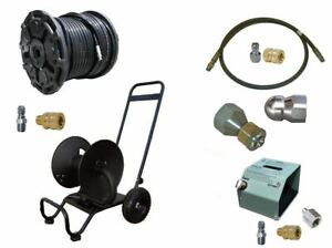 Sewer Jetter Cleaner Kit Hd Foot Valve 200 X 3 8 Hose Reel And Nozzles