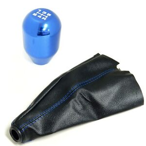 Blue Cnc Billet Racing Shift Knob Boot Combo For Toyota Scion 5 Speed Mt
