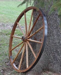 Very Rustic 36 Large Wagon Wheels Quality Hardwood 2 Wide Rim Impressive