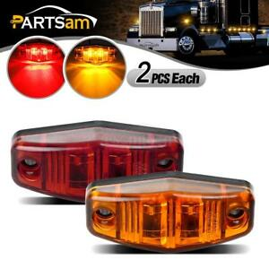 4x Led Light Red Amber Surface Mount Clearance Universal Side Marker Trailer