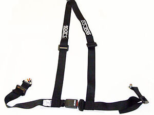 Sparco Racing Street 3 Point Bolt In 2 Seat Belt Harness Black