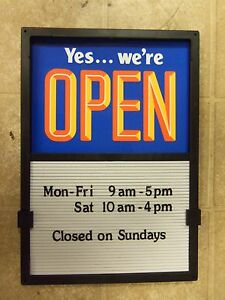 New Open Closed Sliding Sign Changeable Letters Menu Message Hours Info Board