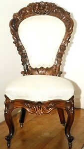 Parlor Chair Rococo Victorian Solid Rosewood Roses 41 T C1860