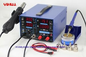 Yihua 853d 2a 4 Led With 5v Usb New Type 3in1 Iron Soldering Rework Station 220v