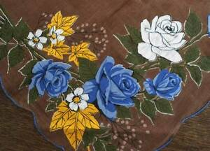 Vintage Printed Hanky Big Blue Rose Bouquet Hand Rolled