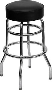 Commercial Quality Double Ring Chrome Bar Stool W Black Vinyl Upholstered Seat