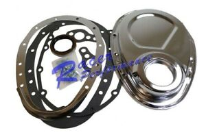 Sb Chevy Chrome 2 Piece Timing Chain Cover Kit 305 350 383 400 Sbc Small Block