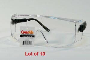 10 Clear Lens Safety Glasses Coveralls 6880 Over The Glasses Black Bulk Lot