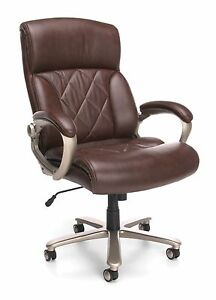 Big Tall 400 Lbs Capacity Brown Leather Executive Office Desk Chair