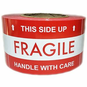Red this Side Up Fragile With Arrows Labels Stickers 5 By 3 500 Ct Roll