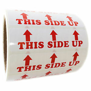 Red this Side Up 3 Arrows Labels Stickers 1 By 4 500 Ct Roll