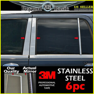 2003 2006 Ford Expedition 6pc Stainless Steel Chrome Pillar Post Trims Overlays
