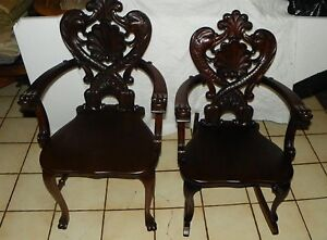 Pair Of Mahogany Carved Rocker Armchair By Stickley And Brandt Ac140