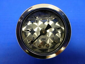 Marshall Gauge 0 15 Psi Fuel Pressure Oil Pressure Engine Turned 1 5 Face Liquid
