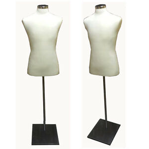 Male Dress Body Form With Metal Base Cream Jersey Bfm c m