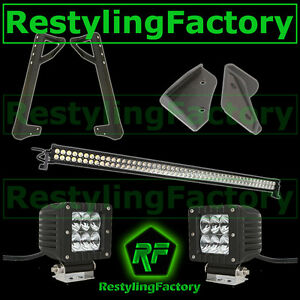 50 Led Light Bar Combo 3xled Flood mounting Bracket For 07 17 Jeep Jk Wrangler