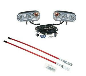 Dual Beam Halogen Headlamp Light Kit W Blade Markers Snowplows Snowblades