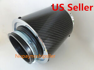 3 Inch Inlet Short Ram Cold Air Flow Intake Filter Turbo Carbon Fiber Chrome