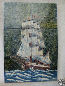 Pottery Majolica Polychrome Tile Plaque Ship Galleon Schooner Signed Cosas