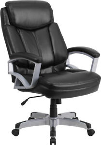 500 Lb Capacity Big Tall Black Leather Executive Office Chair