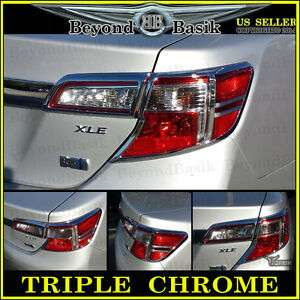 2012 2014 Toyota Camry Chrome 4piece Tail Light Bezel Covers Trim Overlay Abs