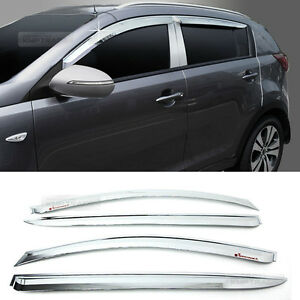 Chrome Window Sun Vent Visor Rain Guards 4p A477 For Kia 2011 2016 Sportage R