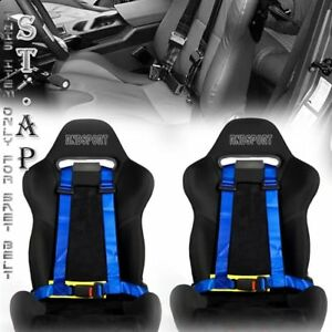 Us Car 2x Two Jdm 4 Point Racing Safety Harness 2 Inch Strap Seat Belt Blk Yl