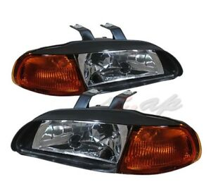 92 95 Honda Civic Eg Door 3dr Coupe Hatchback 1 Pc Black Amber Corner Headlights