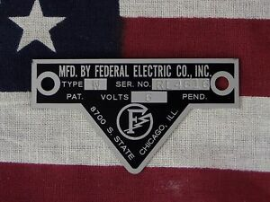 Federal Electric Co Older Federal Siren Models W Wl Replacement Badge 6 Volt