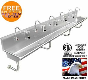 Hand Sink Stainless Steel 6 Users 132 11 Wash Up Hands Free 2 Drains 2 Npt