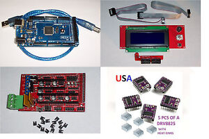 Mega2560 ramps1 4 3d Printer Board 5pcs drv8825 Lcd2004 Smart Display Usa