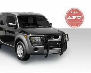 Apu Fits 03 08 Honda Element Black Brush Grille Guard With Auxilliary Fog Lights