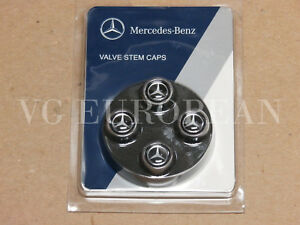 Mercedes Benz Genuine Tire Valve Stem Cap Set Silver Star On Black Caps Oem