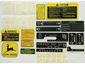 John Deere Jd 3020 Tractor Gas diesel Complete Decal Set 20 Pieces