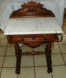 Walnut Carved Marble Top Writing Desk Entry Table Dr70
