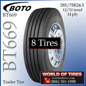 8 Tires Boto Bt669 Trailer Tire 285 75r24 5 Semi Truck Tires 24 5 24 5 Tires