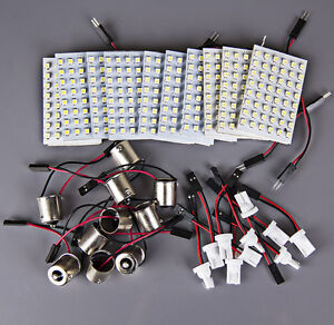 10x Xenon White 48 Smd Led Panel Interior Dome Map Light 1156 Ba15s T10 Adapter
