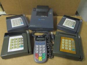 Lot Of 6 Verifone 4 Credit Card Terminals 1 Key Pin Pad And 1 Printer
