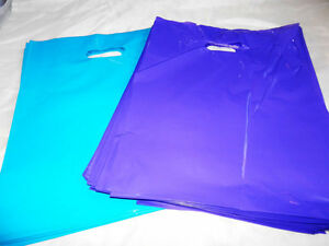 100 12x15 Purple And Teal Blue Low density Plastic Merchandise Bags Whandles