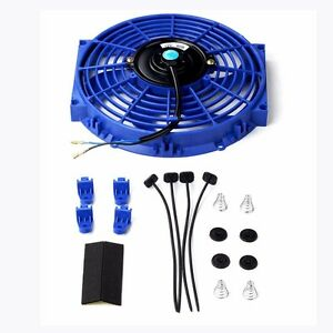 10 Inch Universal Slim Fan Push Pull Electric Radiator Cooling 12v Mount Kit Bu