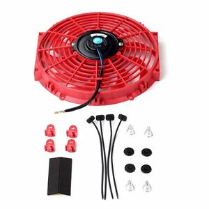 12 Universal Slim Fan Push Pull Electric Radiator Cooling 12v Mount Kit Red