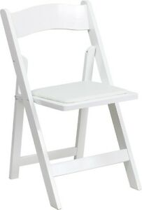 50 Pack White Wood Folding Chair With White Vinyl Padded Seat Wedding Chair