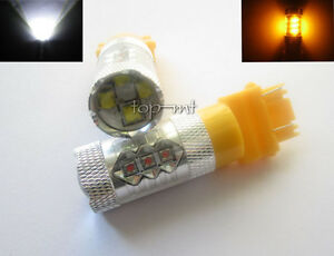 Pair Cree Xbd 80w 3157 White amber Switchback Led Turn Signal Car Drl Light Bulb