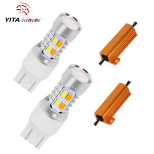 2x 7443 Switchback Dual Color White Amber 20smd Led Turn Signal Lights Resistors