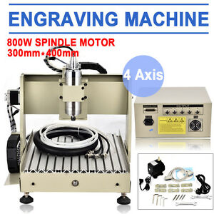 800w Vfd 4 Axis 3040 Engraver Cnc Router Milling Engraving Carving Machine Mach3