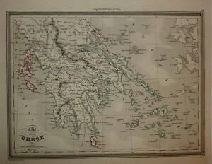 1843 Vuillemin Map Greece Aegean Isles Finely Engraved Detailed And Decorative