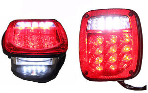 Jeep Tj Cj Yj Jk Replacement Tail Lights W Bright Red Led s Illuminator On Left