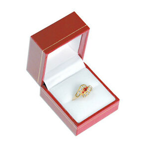 6 Classic Red Leatherette Ring Jewelry Display Gift Boxes