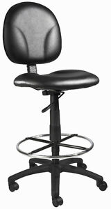 New Black Leather Drafting Stool Chair With Chrome Foot Ring B1690 cs